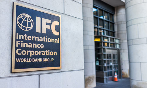 IFC entrance with sign of International Finance Corporation World Bank Group